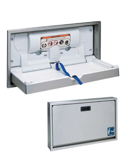 Stainless steel recessed horizontal baby change station. Special order product